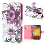 Peňaženkové puzdro pre Samsung Galaxy Note 3- fiaolový kvet - 1/7