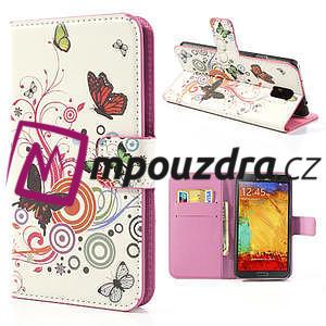 Peňaženkové  puzdro pre Samsung Galaxy Note 3- farebné motýle - 1