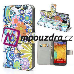 Peňaženkové puzdro pre Samsung Galaxy Note 3- farebné kvety - 1