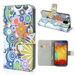 Peňaženkové puzdro pre Samsung Galaxy Note 3- farebné kvety - 1/7