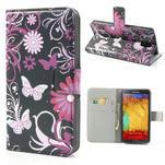Peňaženkové puzdro na Samsung Galaxy Note 3- motýlci - 1/7