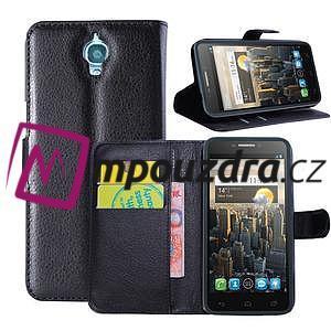 Peňaženkové kožené puzdro na Alcatel One Touch Idol OT-6030D- čierné - 1