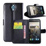 Peňaženkové kožené puzdro na Alcatel One Touch Idol OT-6030D- čierné - 1/6