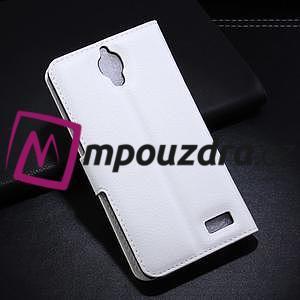 Peňaženkové kožené puzdro na Alcatel One Touch Idol OT-6030D- biele