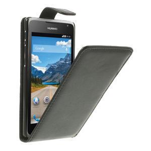 Flipové kožené puzdro na Huawei Ascend Y530-čierné