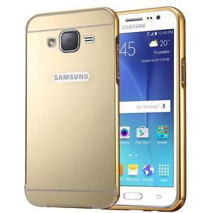 Odolný obal s kovovým obvodem na Samsung Galaxy J5 (2016) - zlatý - 1