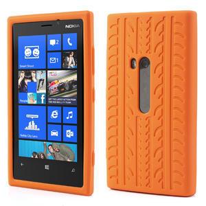 Silokonové PNEU puzdro na Nokia Lumia 920- oranžové - 1