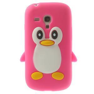 Silikonový tučniak puzdro pre Samsung Galaxy S3 mini i8190- ružový - 1