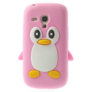 Silikonový tučniak puzdro pre Samsung Galaxy S3 mini i8190- svetloružový - 1