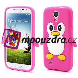 Silikonový Tučniak puzdro pro Samsung Galaxy S4 i9500- ružový - 1