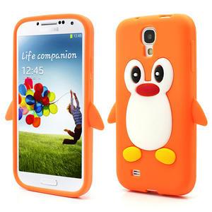 Silikonový Tučniak puzdro pro Samsung Galaxy S4 i9500- oranžový - 1