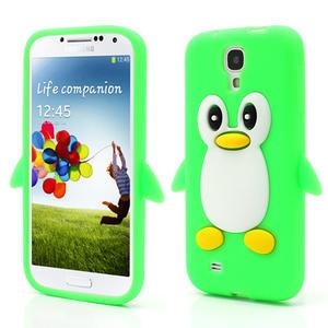 Silikonový Tučniak puzdro pro Samsung Galaxy S4 i9500- zelený - 1