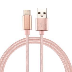 Texture tkaný micro USB Typ-C kábel na nabíjanie a synchronizáciu / 0.5m - ružovozlatý - 1