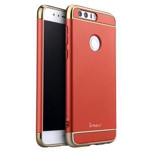 Luxusné odolný obal 3v1 pre mobil Honor 8 - červený - 1