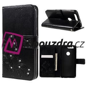 Floay PU kožené puzdro s kamienky na mobil Honor 8 - černé - 1