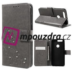 Floay PU kožené puzdro s kamienky na mobil Honor 8 - šedé - 1
