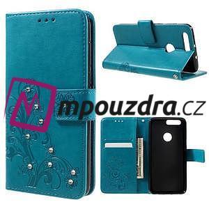 Floay PU kožené puzdro s kamienky na mobil Honor 8 - modré - 1