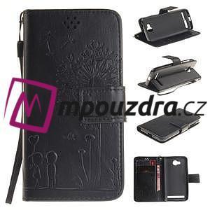 Dandelion PU kožené puzdro na mobil Huawei Y3 II - čierne - 1