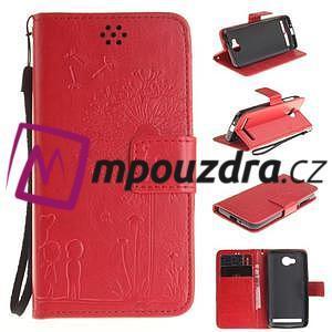 Dandelion PU kožené puzdro na mobil Huawei Y3 II - červené - 1