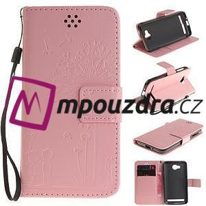 Dandelion PU kožené puzdro na mobil Huawei Y3 II - růžové - 1