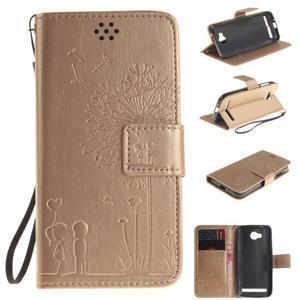 Dandelion PU kožené puzdro na mobil Huawei Y3 II - zlaté - 1