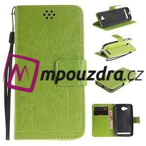 Dandelion PU kožené puzdro na mobil Huawei Y3 II - zelené - 1
