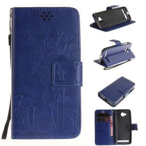 Dandelion PU kožené puzdro na mobil Huawei Y3 II - modré - 1