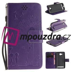 Dandelion PU kožené puzdro na mobil Huawei Y3 II - fialové - 1