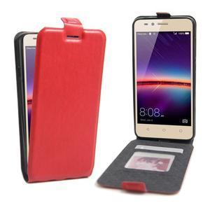 Flipové PU kožené puzdro na Huawei Y3 II - červené - 1