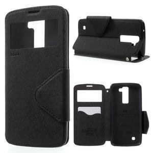 Diary PU kožené pouzdro s okýnkem na LG K8 - černé - 1