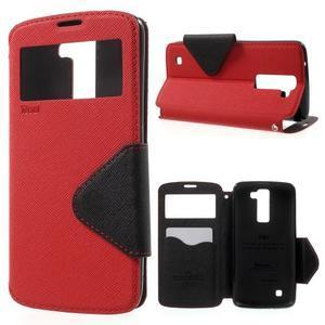 Diary PU kožené puzdro s okienkom na LG K8 - červené - 1