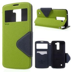 Diary PU kožené puzdro s okienkom na LG K8 - zelené - 1