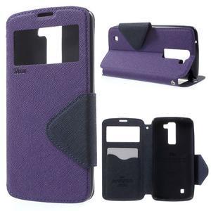 Diary PU kožené puzdro s okienkom na LG K8 - fialové - 1