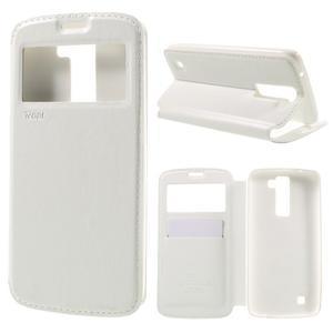 Richi PU kožené puzdro pre mobil LG K8 - biele - 1
