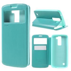 Richi PU kožené pouzdro na mobil LG K8 - azurové - 1