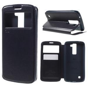 Richi PU kožené puzdro pre mobil LG K8 - tmavomodré - 1