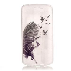 Průhledný gelový obal na telefon LG K8 - ptačí peříčko - 1
