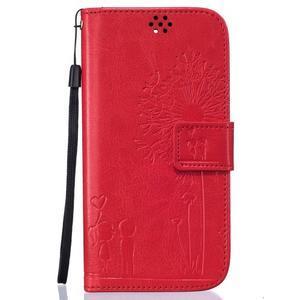 Dandelion PU kožené puzdro pre mobil LG K8 - červené - 1