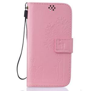 Dandelion PU kožené puzdro pre mobil LG K8 - ružové - 1