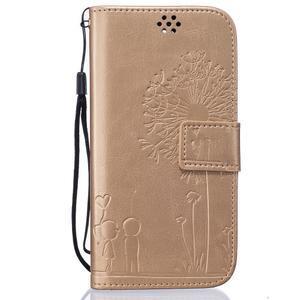Dandelion PU kožené pouzdro na mobil LG K8 - zlaté - 1