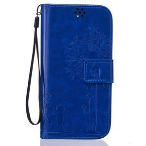 Dandelion PU kožené pouzdro na mobil LG K8 - modré - 1