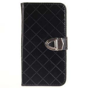 Luxusní PU kožené puzdro s přezkou na LG K8 - čierne - 1