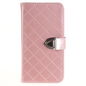 Luxusní PU kožené pouzdro s přezkou na LG K8 - růžové - 1