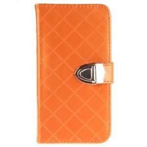 Luxusní PU kožené puzdro s přezkou na LG K8 - oranžové - 1