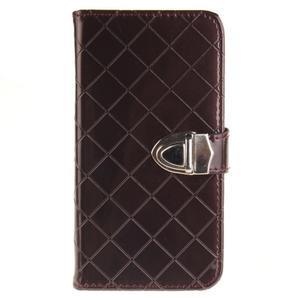 Luxusní PU kožené puzdro s přezkou na LG K8 - hnedé - 1