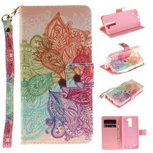 Style PU kožené puzdro pre LG K8 - farebná mandala - 1