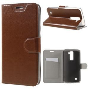 Horse PU kožené puzdro pre mobil LG K8 - hnedé - 1
