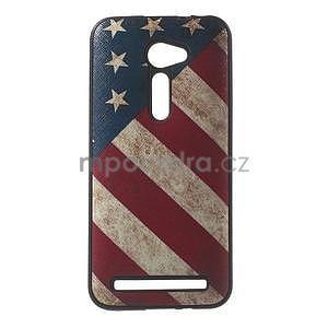 Gélový obal s imitáciou vrúbkované kože na Asus Zenfone 2 ZE500CL - vlajka USA - 1