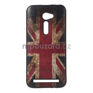 Gélový obal s imitáciou vrúbkované kože na Asus Zenfone 2 ZE500CL - vlajka UK - 1