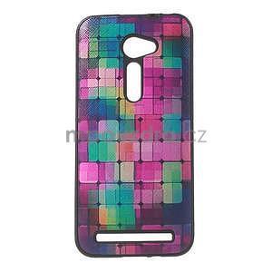 Gélový obal s imitáciou vrúbkované kože na Asus Zenfone 2 ZE500CL - mozaika farieb - 1